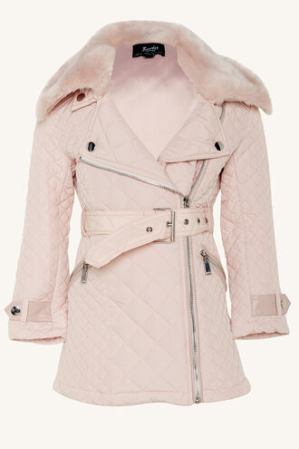 GRACE QUILTED COAT in colour PRIMROSE PINK