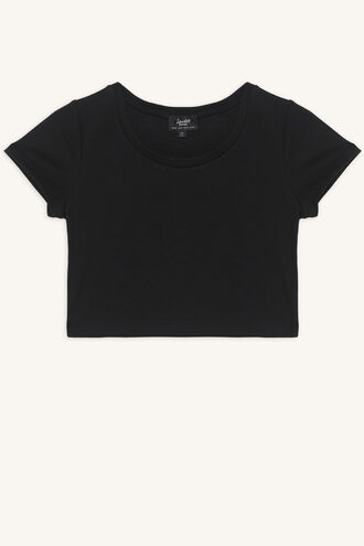 NINA SCOOP TEE in colour JET BLACK