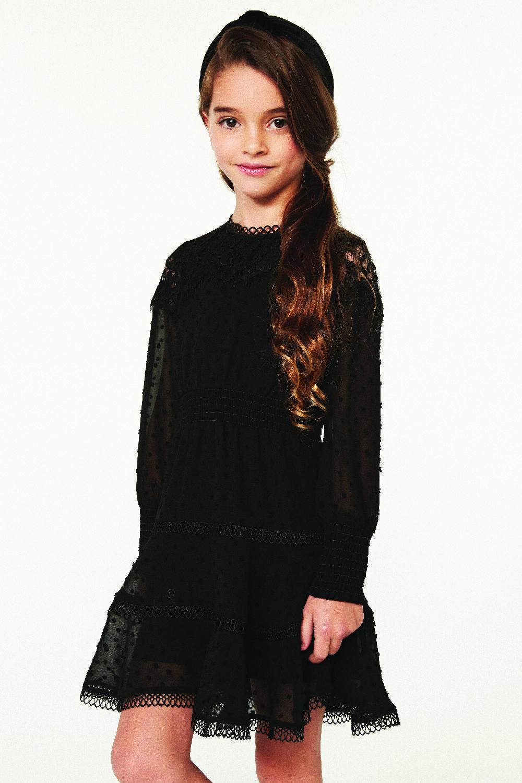 JUNIOR GIRL LIANA TRIM DRESS in colour JET BLACK