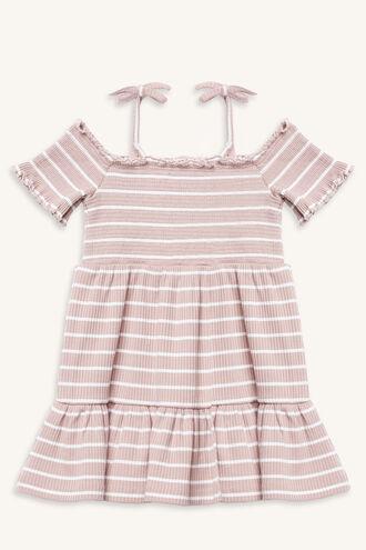 SHIRRED STRIPE DRESS in colour LOTUS