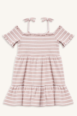 SHIRRED STRIPE DRESS in colour LOTUS