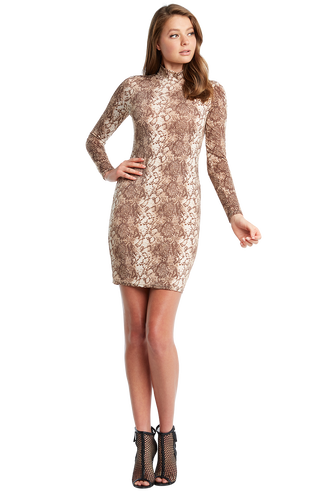SNAKE LS DRESS in colour PEBBLE