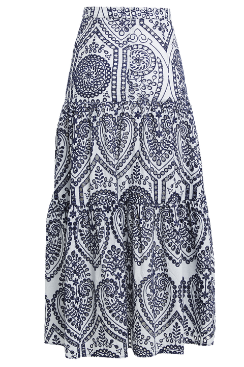 BRODERIE MAXI SKIRT in colour TOTAL ECLIPSE