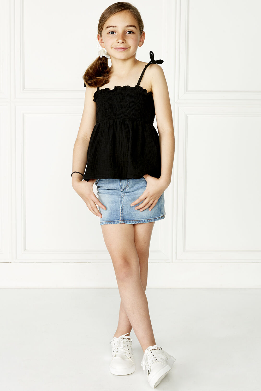 tween girl nora shirred top in colour JET BLACK