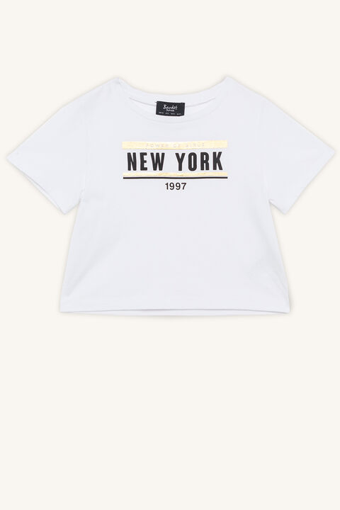 TWEEN GIRL NEW YORK TEE in colour CLOUD DANCER