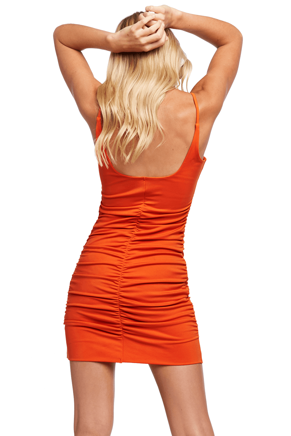 KAROLINA MINI DRESS in colour MANDARIN RED