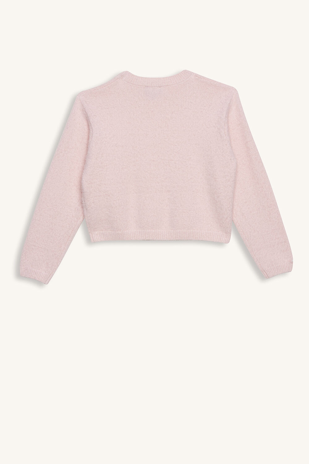 CROPPED FLUFFY KNIT in colour PRIMROSE PINK