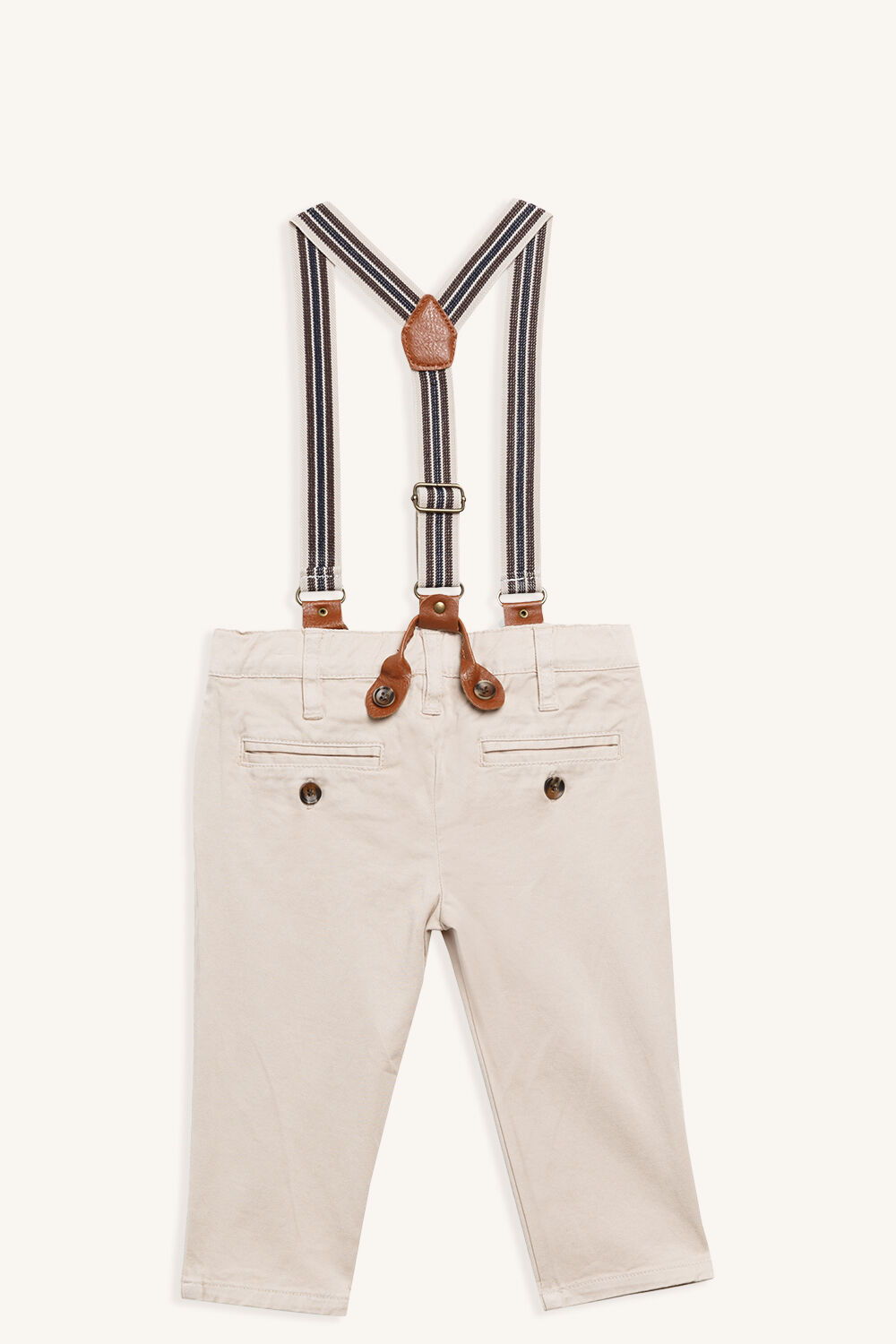 BASIC CHINO PANT WITH BRACES in colour SAFARI