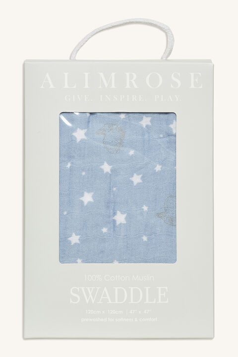 STARS & BUNNIES MUSLIN SWADDLE in colour BLUE BELL