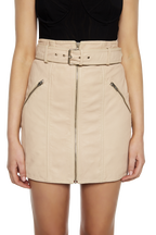 MINI LEATHER SKIRT in colour RUGBY TAN