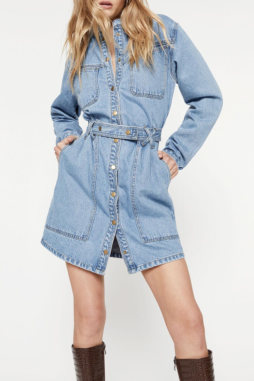 ELENA DENIM DRESS in colour MIDNIGHT NAVY