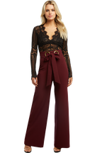 EYELET TIE PANT in colour BURGUNDY