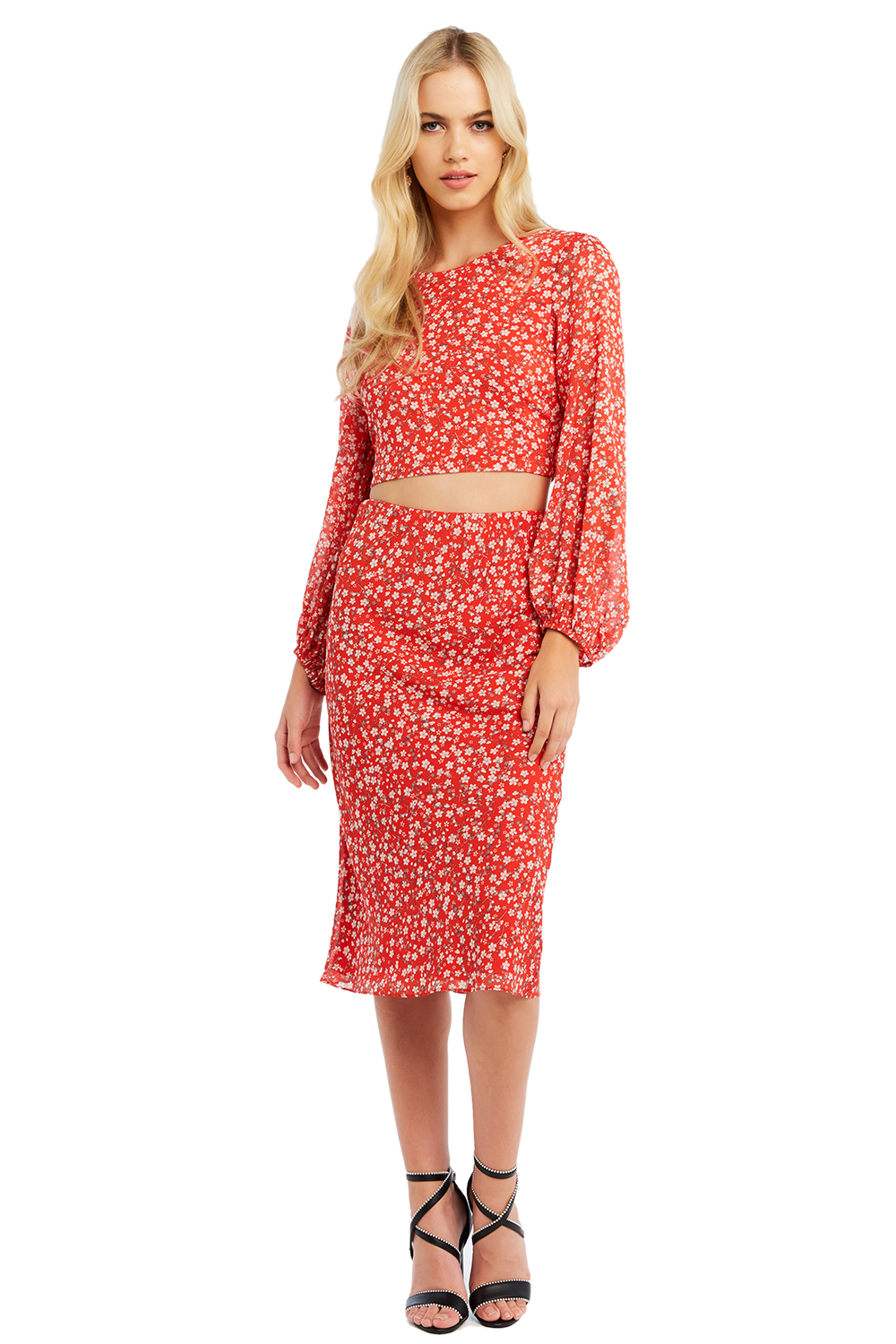 MAYAH BIAS MIDI SKIRT in colour TOMATO PUREE