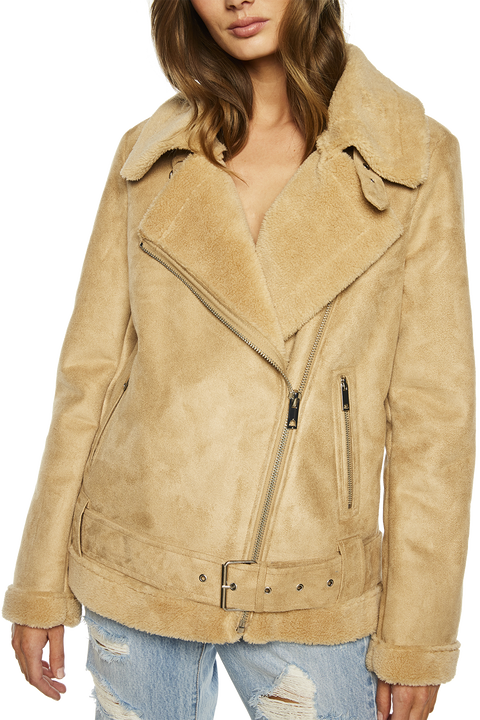 SUEDETTE FAUX FUR JACKET in colour HONEY PEACH