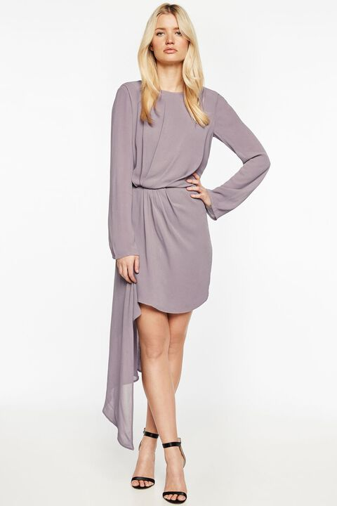 STILLA DRAPE DRESS in colour QUAIL