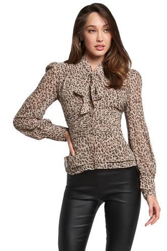 LEOPARD BLOUSE in colour GARDENIA