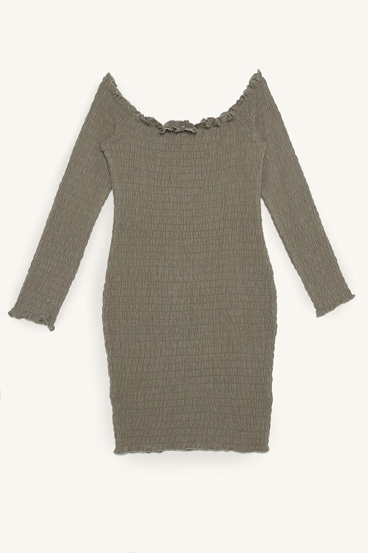 THALI SHIRRED DRESS in colour DEEP LICHEN GREEN