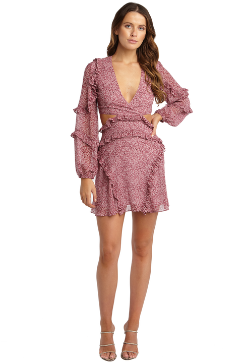 MARLA OPEN BACK DRESS in colour WILD ORCHID