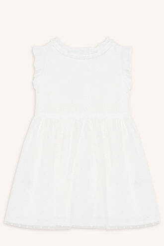 MOYA BRODERIE DRESS in colour CLOUD DANCER
