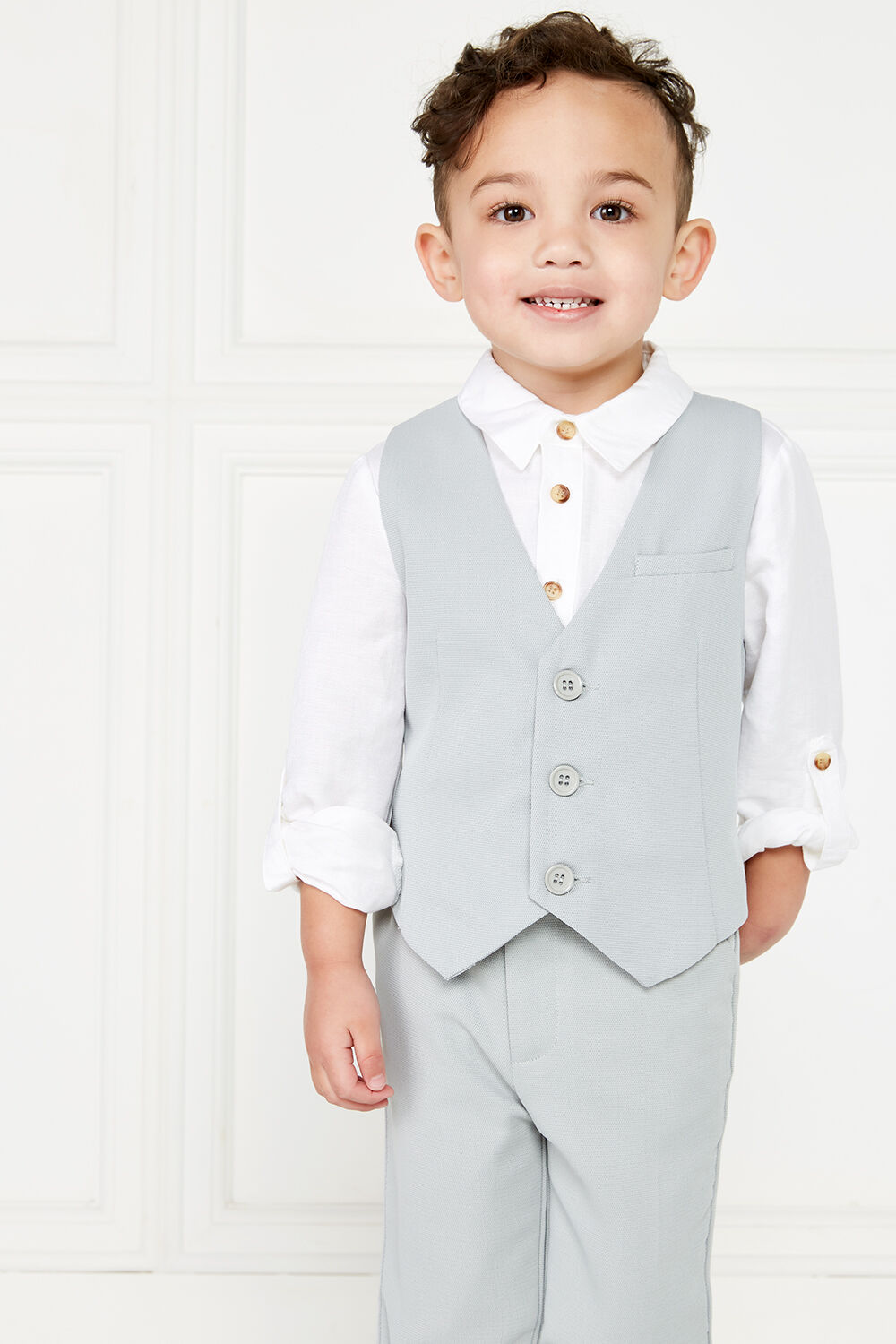 TEXTURED SUIT VEST in colour FROST GRAY
