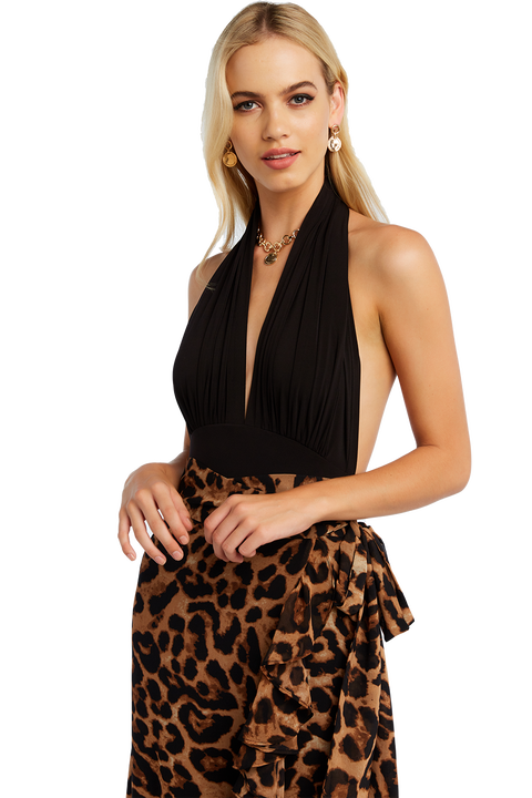 HALTER NECK BODYSUIT in colour CAVIAR