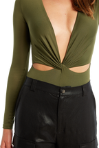 BODI TWIST BODYSUIT in colour DEEP LICHEN GREEN