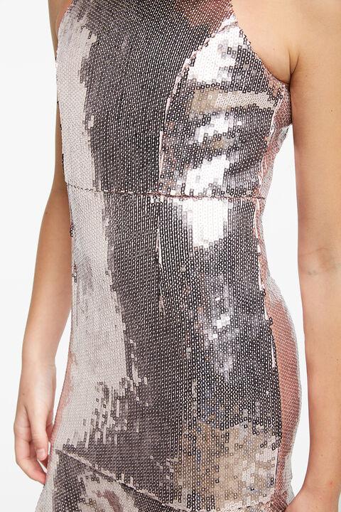 SARA SHIMMER DRESS in colour PALE DOGWOOD