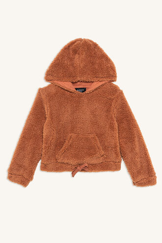LILLY HOODED TOP in colour COPPER BROWN