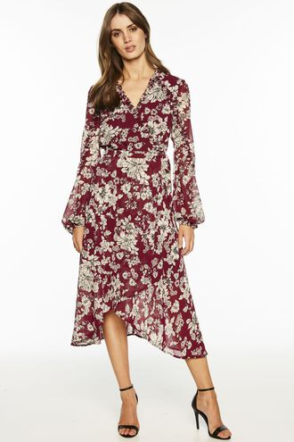 JOLIE WRAP DRESS in colour DARK PURPLE