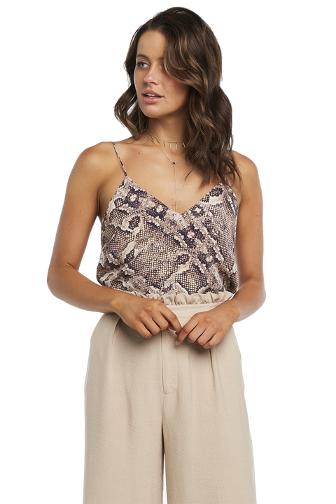 SNAKE V NECK CAMI in colour EGRET