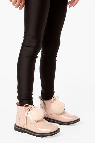 POM POM PATENT BOOT in colour PINK CARNATION
