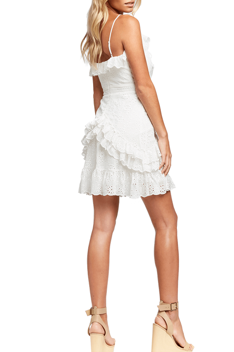 AVA LACE UP DRESS in colour CLOUD DANCER