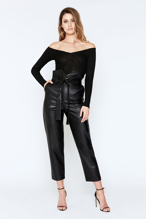OFF SHOULDER BODYSUIT in colour CAVIAR