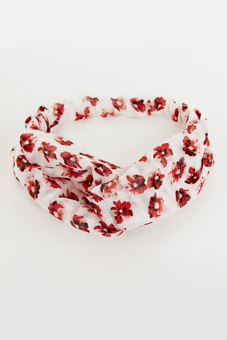 RED FLORAL WRAP HEADBAND in colour CAVIAR