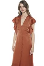 BUTTON UP DRESS in colour LEATHER BROWN