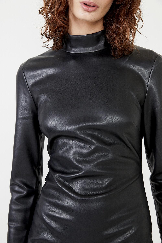 HARLEY VEGAN LEATHER DRESS in colour CAVIAR