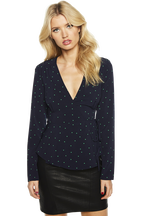 SPOTTY WRAP TOP in colour PATRIOT BLUE