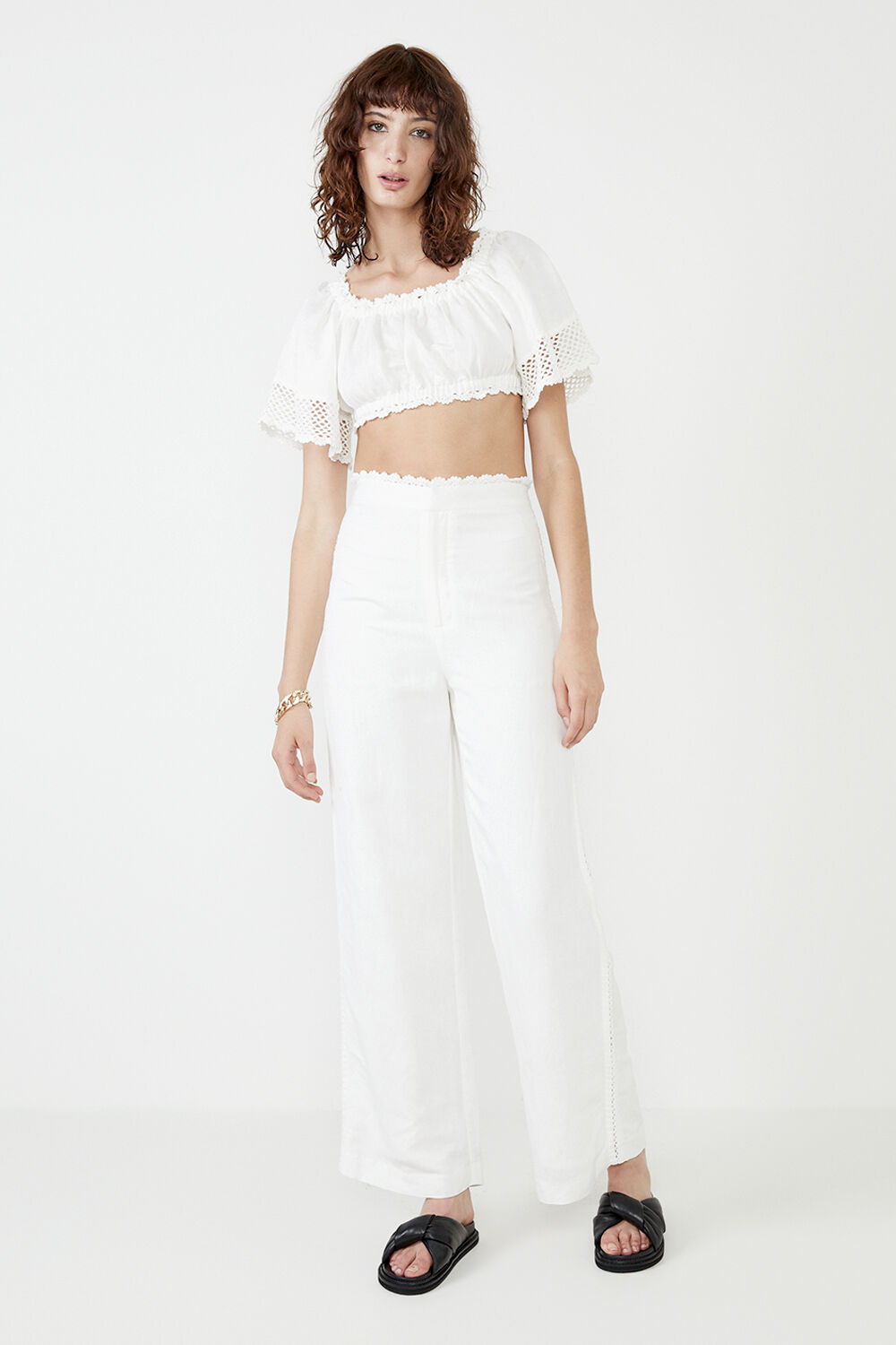 LINEN CROCHET PANT in colour CLOUD DANCER