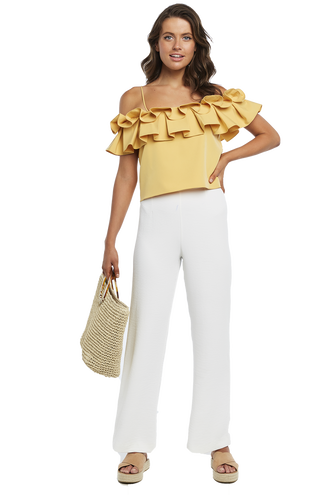 DOREY PLEAT TOP in colour CREAM GOLD