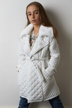 TWEEN GIRL GRACE QUILTED COAT   in colour CLOUD DANCER