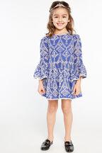 JUNIOR GIRL SIA BRODERIE DRESS in colour AMPARO BLUE