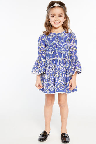 SIA BRODERIE DRESS in colour AMPARO BLUE
