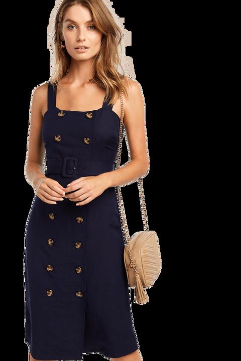LINEN BELT DRESS in colour ASTRAL AURA