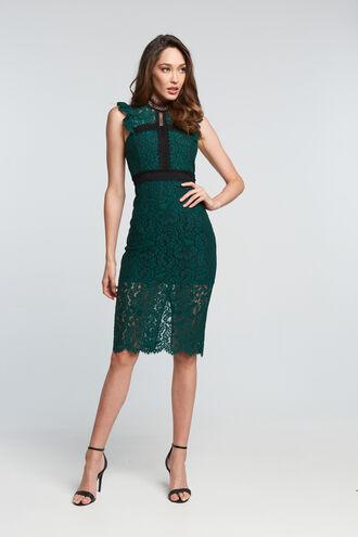 LATOYA LACE DRESS in colour HUNTER GREEN