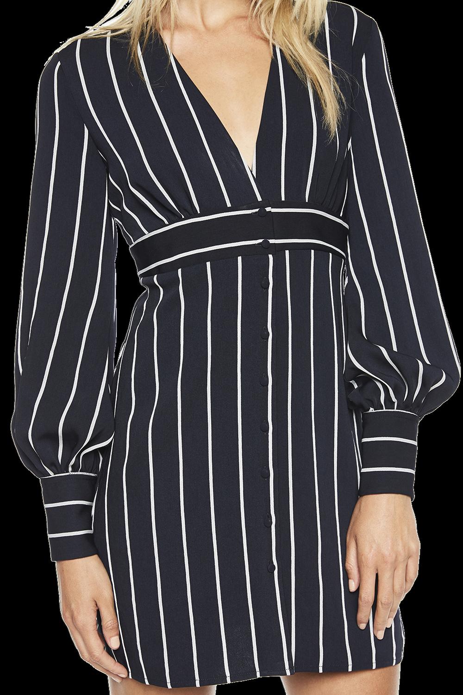 STRIPE BUTTON DRESS in colour PEACOAT