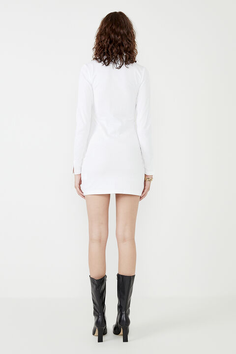 MARNIE COLLARED ORGANIC MINI DRESS  in colour BRIGHT WHITE