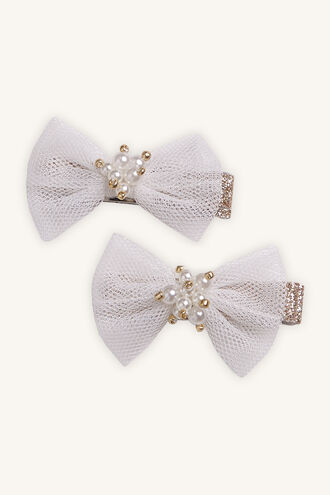 PEARL BOW CLIP in colour WHITE ALYSSUM