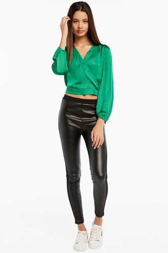 ELENA TIE BLOUSE in colour CLASSIC GREEN