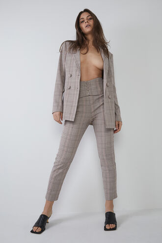 CORSET CHECK PANT in colour PARCHMENT