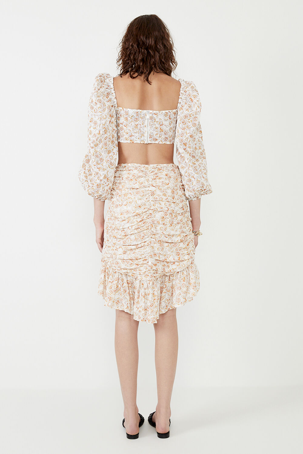 MIDI PAISLEY EMBROIDERED WRAP SKIRT  in colour AMBER BROWN
